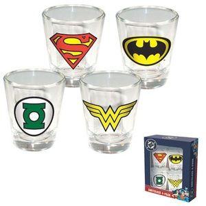DC Comics Hero Shot Glass 4 Pack